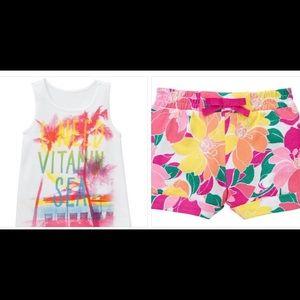 NWT Gymboree Vitamin Sea Top & Floral Shorts Pink